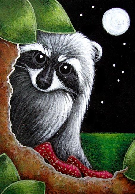Art: LOVELY RACCOON WITH DOROTHY RED SHOES? by Artist Cyra R. Cancel