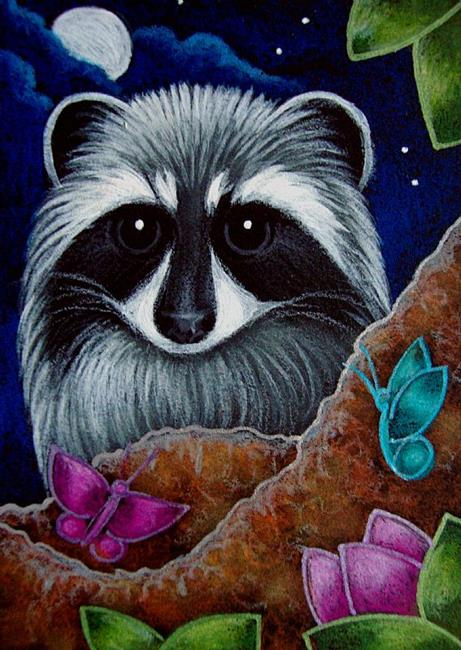 Art: RACCOON WITH FRIENDLY BUTTERFLIES by Artist Cyra R. Cancel
