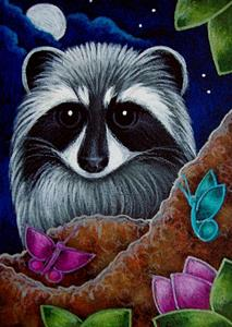 Detail Image for art RACCOON WITH FRIENDLY BUTTERFLIES