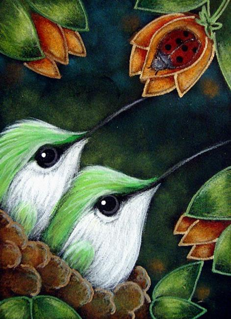 Art: BABY  GREEN HUMMINGBIRDS MET THE LADYBUG by Artist Cyra R. Cancel