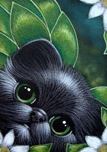 Detail Image for art BLACK FAIRY KITTEN CAT WITH FLOWERS
