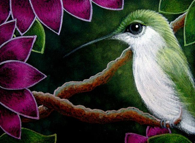 Art: TINY GREEN HUMMINGBIRD IN MY GARDEN by Artist Cyra R. Cancel