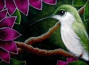 Detail Image for art TINY GREEN HUMMINGBIRD IN MY GARDEN