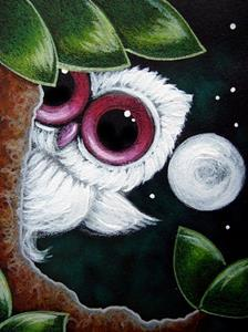 Detail Image for art TINY ALBINO OWL BIG EYED   1ST MOON