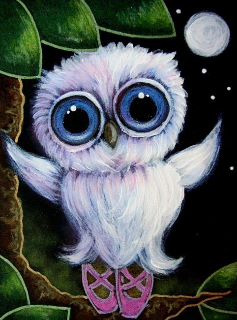 Art: TINY TORNASOL OWL WITH SLIPPERS - BALLERINA by Artist Cyra R. Cancel