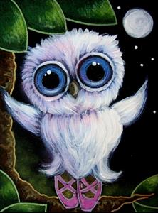 Detail Image for art TINY TORNASOL OWL WITH SLIPPERS - BALLERINA