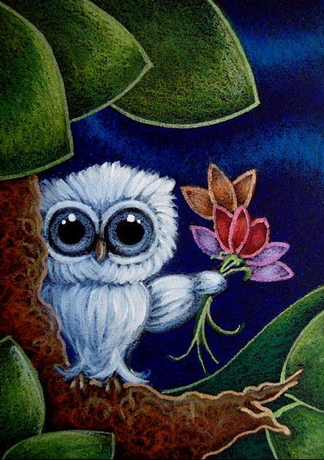 TINY BABY BLUE OWL WITH FLOWERS - GOOD MORNING TEACHER