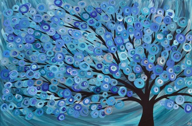 Art: Teal Blue Tree Painting by Artist Louise Mead