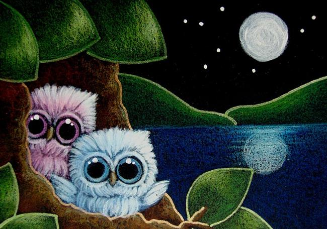 Art: TINY BABY OWLS AT HOME - 2 MOONS? -NO... IT'S THE WATER REFLECTION by Artist Cyra R. Cancel