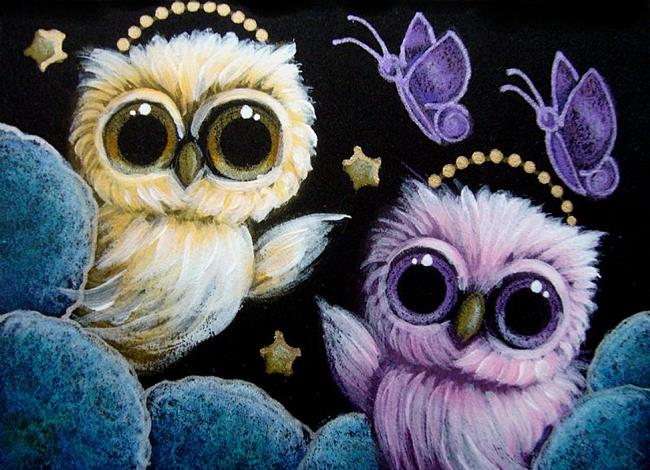 TINY ANGELS OWLS - VIOLET BUTTERFLIES VISIT