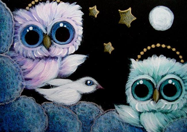 Art: TINY ANGELS OWLS - A PEACE WHITE DOVE VISIT by Artist Cyra R. Cancel