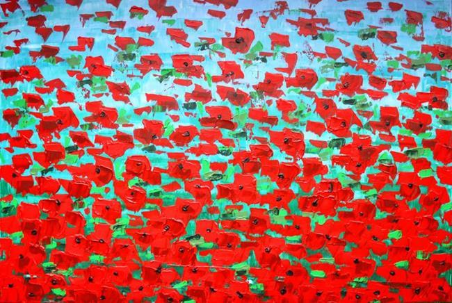Art: Red Flowers (a) by Artist Luba Lubin