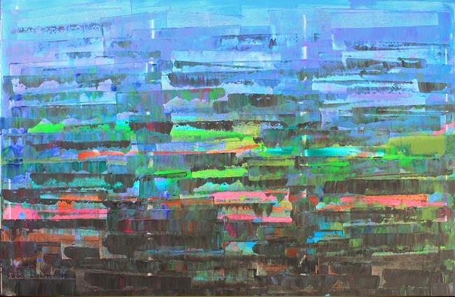 Art: Blue-Purple Abstraction 128 (a) by Artist Luba Lubin