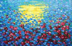 Art: Blue Maroon Tulips (a) by Artist Luba Lubin