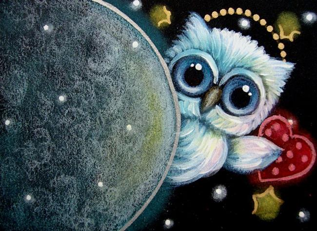 Art: TINY CUPID ANGEL OWL BEHIND THE MOON WITH YOUR VALENTINE HEART By  Artist Cyra