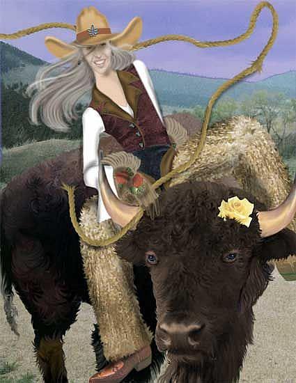 Art: Buffalo Girl by Artist Carol Cross