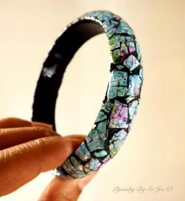 Art: Blue Pink Eggshell Mosaic Bracelet by Artist So Jeo LeBlond
