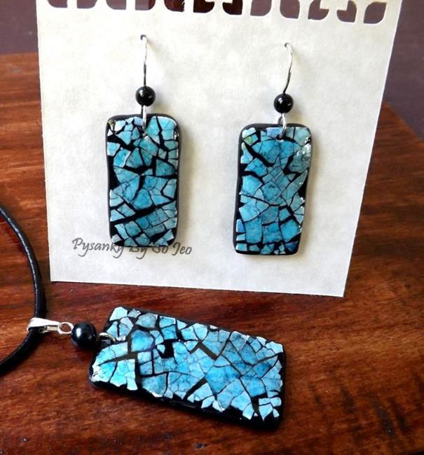 Art: Blue Rectangle Eggshell Mosaic Earrings Pendant by Artist So Jeo LeBlond