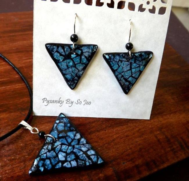 Art: Blue Triangle Eggshell Mosaic Earrings Pendant by Artist So Jeo LeBlond
