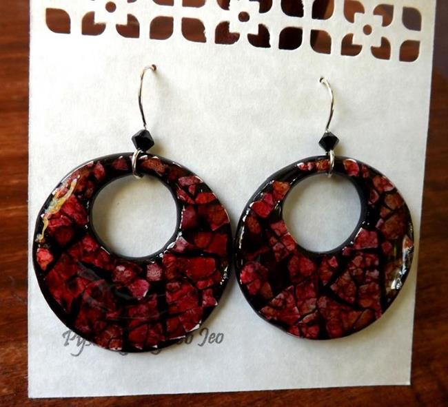 Art: Cranberry Circles Eggshell Mosaic Earrings by Artist So Jeo LeBlond