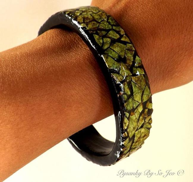 Art: Green Eggshell Mosaic Bracelet by Artist So Jeo LeBlond