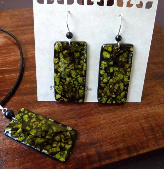 Art: Green Rectangle Eggshell Mosaic Earrings Pendant by Artist So Jeo LeBlond