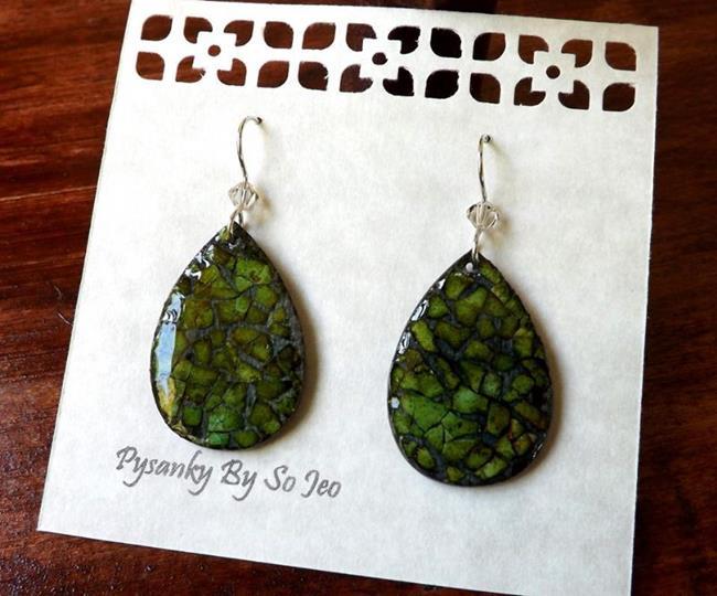 Art: Green Teardrop Eggshell Mosaic Earrings by Artist So Jeo LeBlond