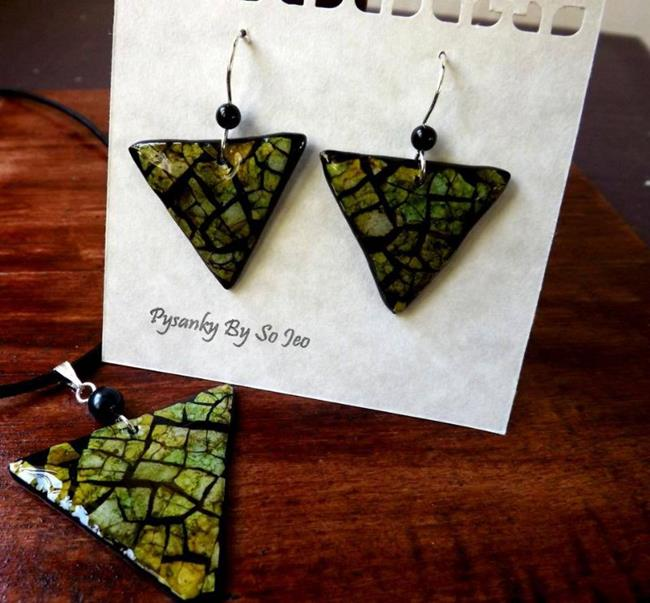 Art: Green Triangles Eggshell Mosaic Earrings Pendant by Artist So Jeo LeBlond