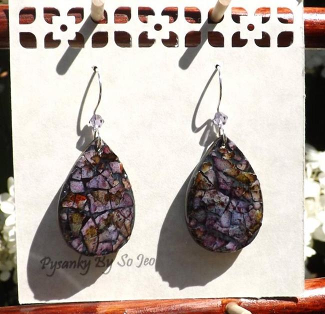 Art: Purple Eggshell Mosaic Teardrop Earrings by Artist So Jeo LeBlond
