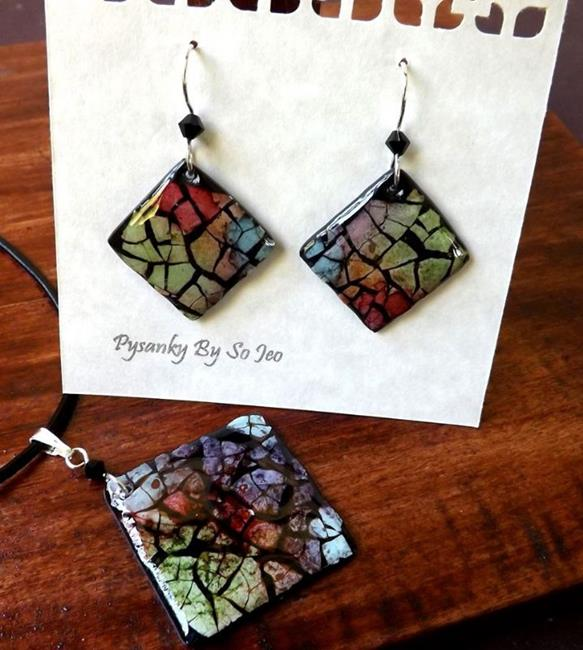 Art: Rainbow Diamond Eggshell Mosaic Earrings Pendant by Artist So Jeo LeBlond