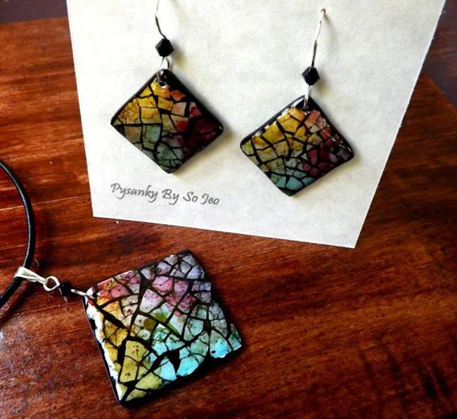Art: Rainbow Diamond Eggshell Mosaic Earrings Pendant 2 by Artist So Jeo LeBlond