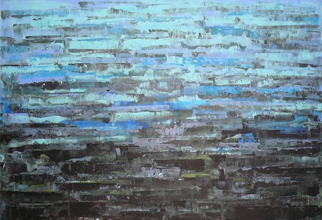 Art: Blue Sea - Abstraction 145 56x40 (140x100cm) (s) by Artist Luba Lubin
