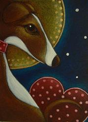 Art: GREYHOUND WITH HALO AND VALENTINE HEART by Artist Cyra R. Cancel