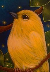 Art: YELLOW WARBLER BIRD & FIREFLIES by Artist Cyra R. Cancel