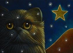 Art: BLACK PERSIAN CAT...THE STAR IS BACK by Artist Cyra R. Cancel