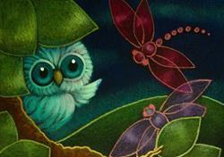 Art: SPRING TINY OWL DRAGONFLIES ARE BACK by Artist Cyra R. Cancel