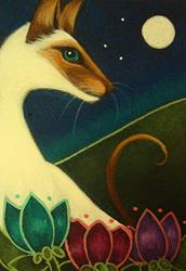 Art: SPRING SIAMESE CAT IN MY GARDEN 2 by Artist Cyra R. Cancel