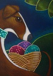 Art: SPRING GREYHOUND DOG WITH EASTER EGGS BASKET by Artist Cyra R. Cancel