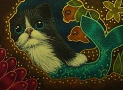 Art: TINY TUXEDO MERMAID CAT MERCAT TALKING TO HER FRIENDS by Artist Cyra R. Cancel