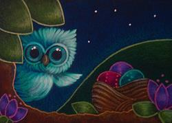 Art: SPRING TINY OWL WITH EASTER EGGS BASKET by Artist Cyra R. Cancel