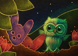 Art: SPRING TINY OWL EASTER BUNNY PEEPS 1 by Artist Cyra R. Cancel