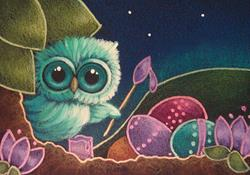 Art: SPRING TINY OWL PAINTING THE EASTER EGGS by Artist Cyra R. Cancel
