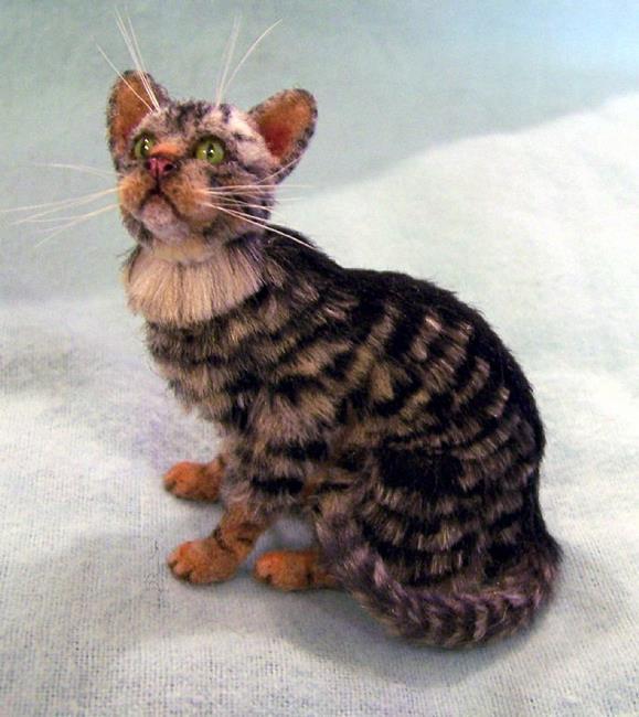 Art: Silk/Yak Furred Tabby Cat by Artist Camille Meeker Turner
