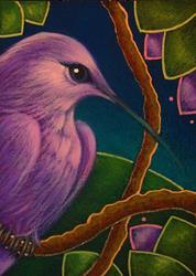 Art: VIOLET SABREWING HUMMINGBIRD by Artist Cyra R. Cancel