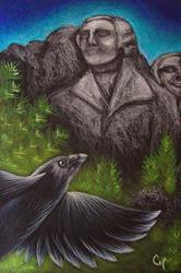 Art: RAVEN CROW FLYING CLOSE TO THE MOUNT RUSHMORE NATIONAL MEMORIAL by Artist Cyra R. Cancel