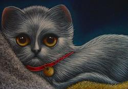 Art: SILVER KITTEN CAT WITH RED COLLAR - 5 X 7 PAINTING by Artist Cyra R. Cancel
