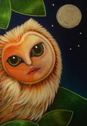 Art: A FANTASY OWL WITH A FACE IN MY GARDEN by Artist Cyra R. Cancel