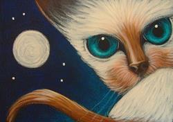Art: ORIENTAL SIAMESE CAT... WATCHING YOU by Artist Cyra R. Cancel
