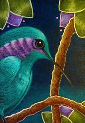 Art: ORIGINAL FANTASY VIOLET EARED HUMMINGBIRD by Artist Cyra R. Cancel