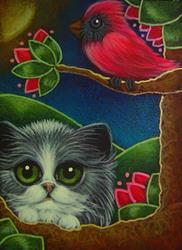 Art: BICOLOR PERSIAN CAT MET A CARDINAL BIRD by Artist Cyra R. Cancel